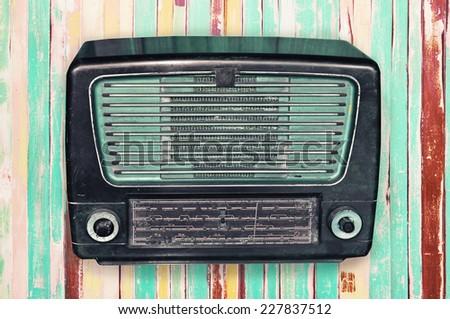 vintage old radio - stock photo