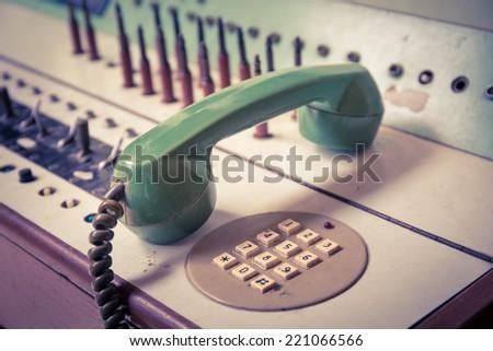 vintage old telephone, Green retro phone . - stock photo