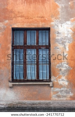 Vintage old wall with one window - stock photo