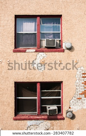 Vintage old wall with windows - stock photo