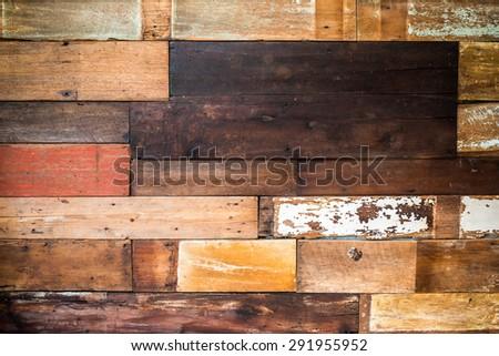 Vintage old wood material background for Vintage wallpaper - stock photo