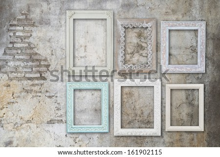 Vintage Old Wooden Frames On Concrete Stock Photo (Royalty Free ...