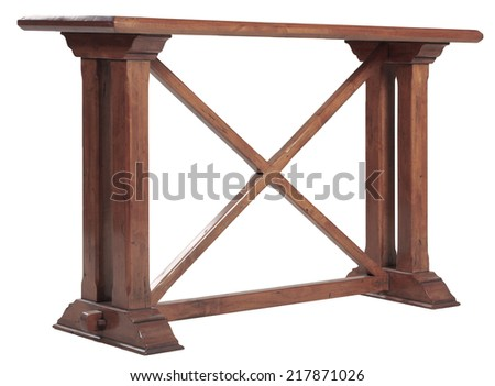 Vintage old wooden side table - stock photo
