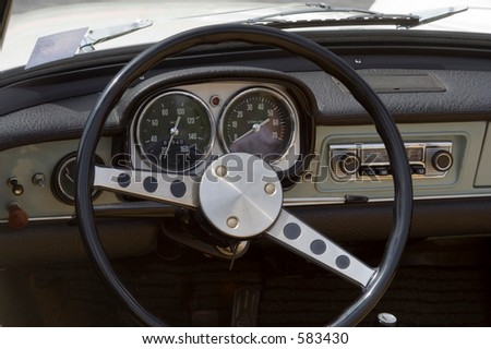 Vintage Opel - German Car - Dashboard and Wheel Closeup