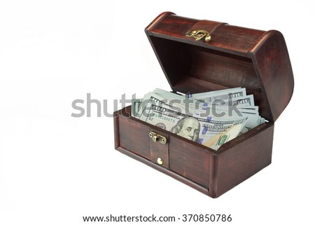 Vintage Opened Brown Wood Box With American Dollar One Hundred Bills Isolated On White Background, Side View, Close Up - stock photo