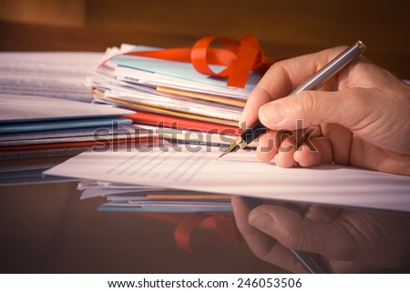 Vintage or Retro Style Hand with Fountain Pen Writing Letters with Reflection  - stock photo
