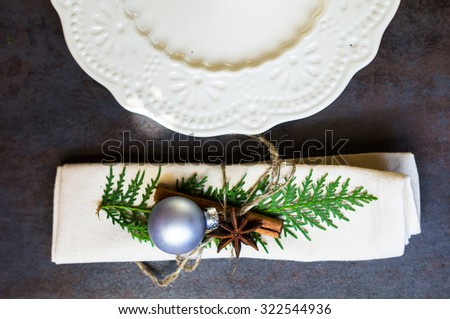 Vintage or rustic christmas table setting. Selective focus - stock photo