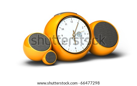 vintage orange alarm clock with sound speakers and antenna over white background