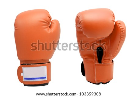 Vintage orange color Boxing gloves Front and Back side with white blackground