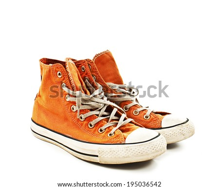 Vintage orange shoes. Isolated on white background  - stock photo
