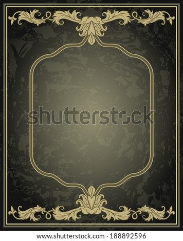 Vintage ornament frame in retro style - stock photo