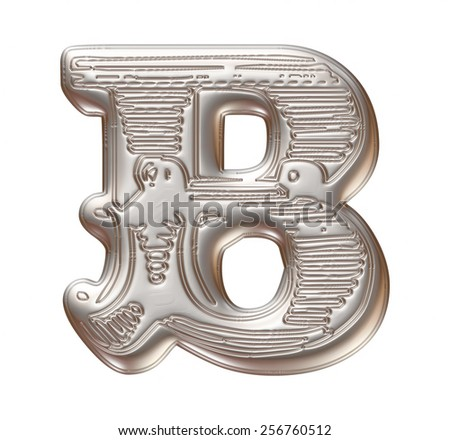 Vintage ornament Metal Letter B isolated on white background - stock photo