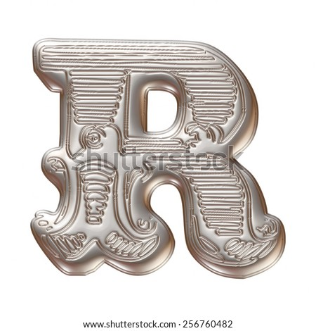 Vintage ornament Metal Letter R isolated on white background - stock photo
