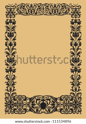 vintage ornamental borders in black and white - stock photo