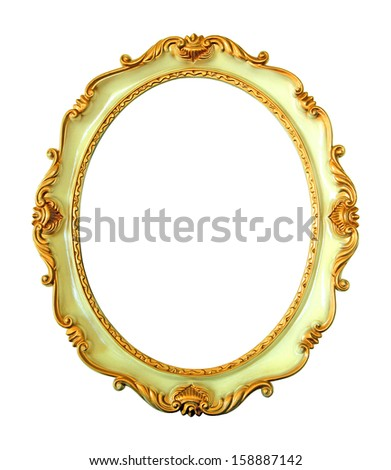 Vintage oval frame isolated on white background  - stock photo