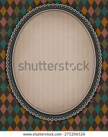 Vintage oval frame of lace - stock photo