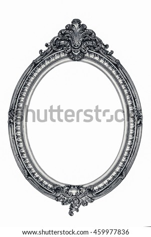 vintage oval photo frame on white