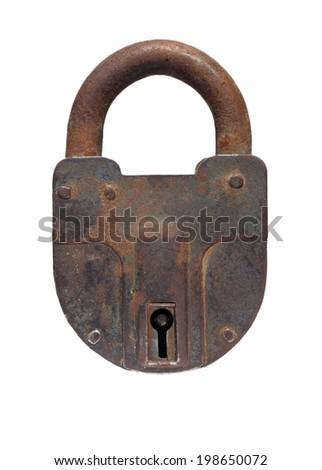 Vintage padlock on a white background  - stock photo