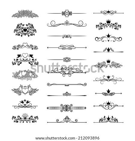 vintage page decor with crowns, arrows and floral elements - stock photo