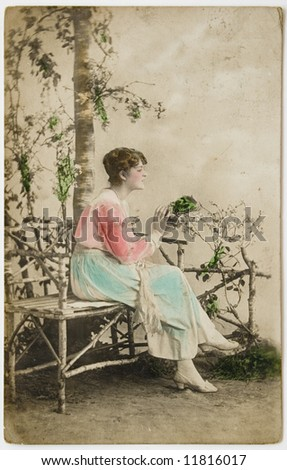 vintage painted photographic postcard - stock photo