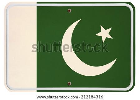 Vintage Pakistan metal sign - stock photo