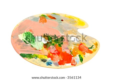 vintage palette of greate master of art! - stock photo