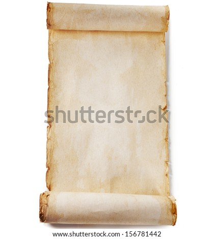 vintage paper blank surface isolated on a white background  - stock photo
