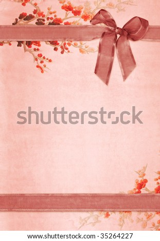 Vintage paper card with floral design - stock photo