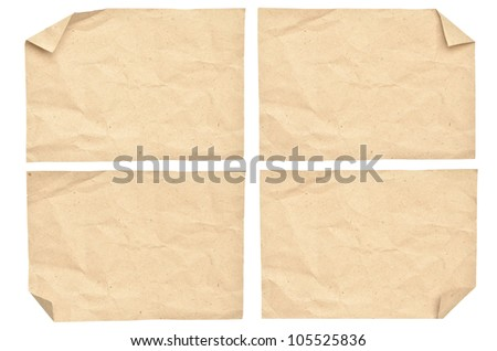 Vintage paper isolated on white - stock photo