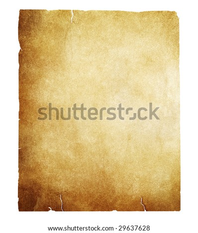 vintage paper isolated with clipping path - stock photo