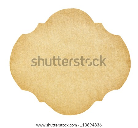 Vintage Paper Label isolated on white - stock photo