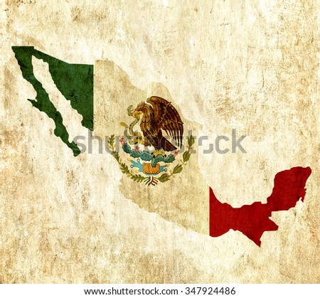 Vintage paper map of Mexico - stock photo