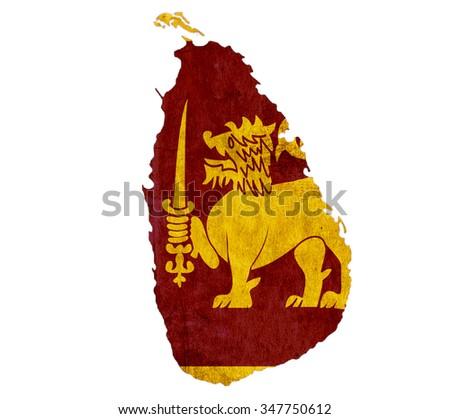 Vintage paper map of Sri Lanka - stock photo
