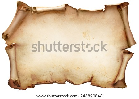 Vintage paper scroll isolated on white - stock photo