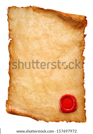 Vintage paper scroll with wax seal - stock photo