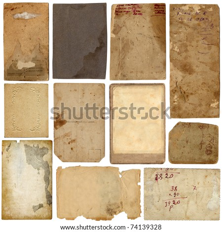 vintage paper set - stock photo