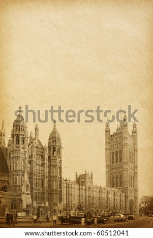 vintage  paper textures.  Houses of Parliament  in London UK view from Abingdon street - stock photo