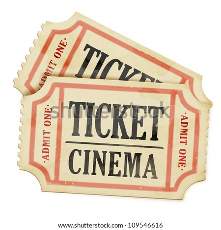 Vintage paper tickets on white background - stock photo