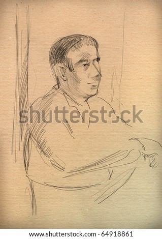 vintage paper with a sketch of a man
