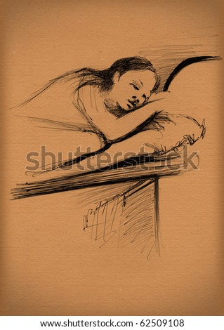 vintage paper with a sketch of sleeping girl