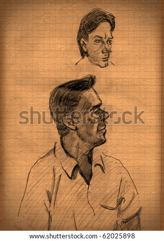 vintage paper with a sketch of two men