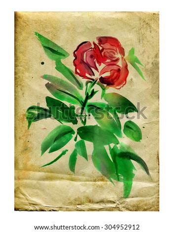 Vintage paper with roses on it on a white background - stock photo