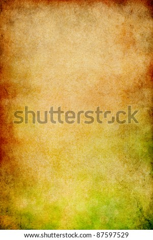 Vintage paper with stains, gritty grunge patterns, and a green to red gradient.  Image displays a distinct paper grain and texture at 100%. - stock photo