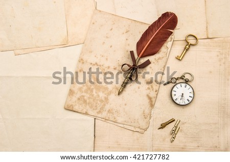 Vintage papers and ink pen. Nostalgic sentimental background for scrapbooking - stock photo