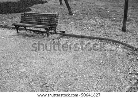 Vintage park bench, black and white - stock photo
