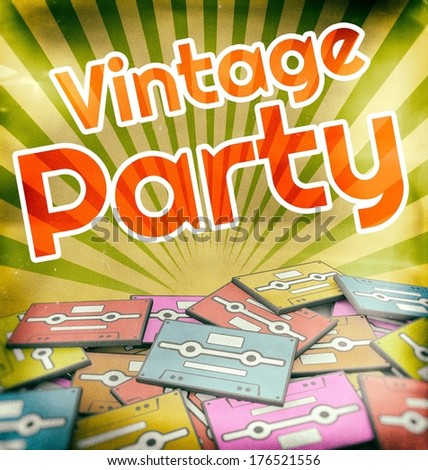 Vintage party poster design. Retro concept on old audio cassettes - stock photo