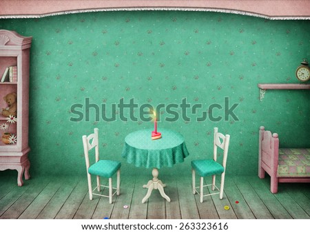 Vintage pastel background children's room with  celebratory cake.  - stock photo