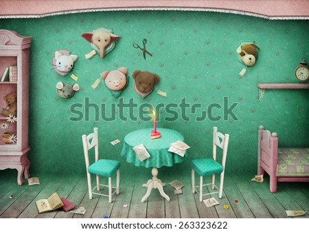Vintage pastel background with toys and children's room. Computer graphics. - stock photo