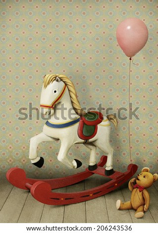 Vintage pastel illustration wooden horse with a small bear with  balloon - stock photo