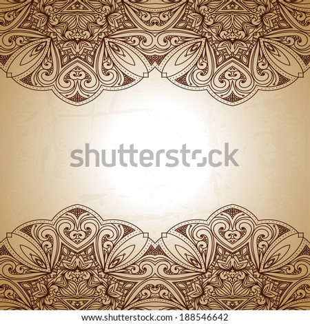 Vintage pattern. Retro Vintage wedding greeting card. Hand drawn abstract background. Card or invitation. Floral ornament. Islam, arabic, indian, ottoman motifs. Raster version - stock photo